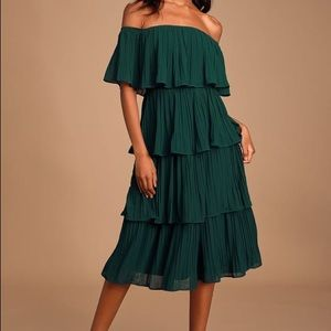 Forest Green Off-the-Shoulder Ruffle Midi Dress